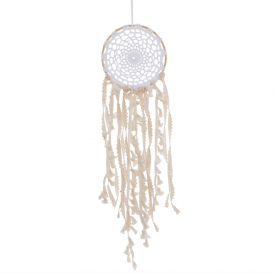 White Boho Macramé Dreamcatcher