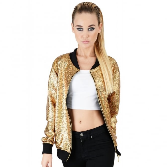 Womens Gold Disco Bomber Jacket