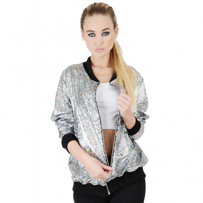 Womens Silver Disco Bomber Jacket