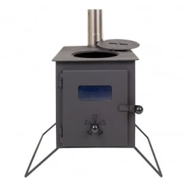 Boutique Camping Woodburning Stove with Grills and Extra Inlet.