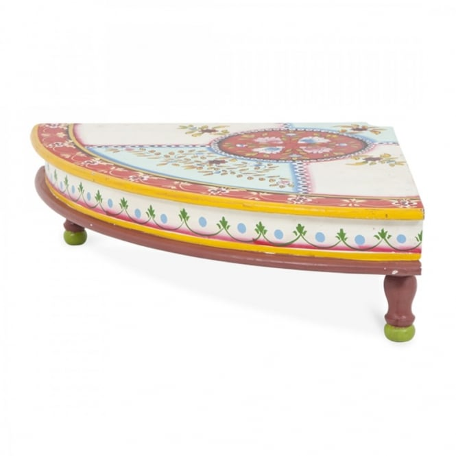 Wooden Quarter Round Bajot Table Painted Aqua Red