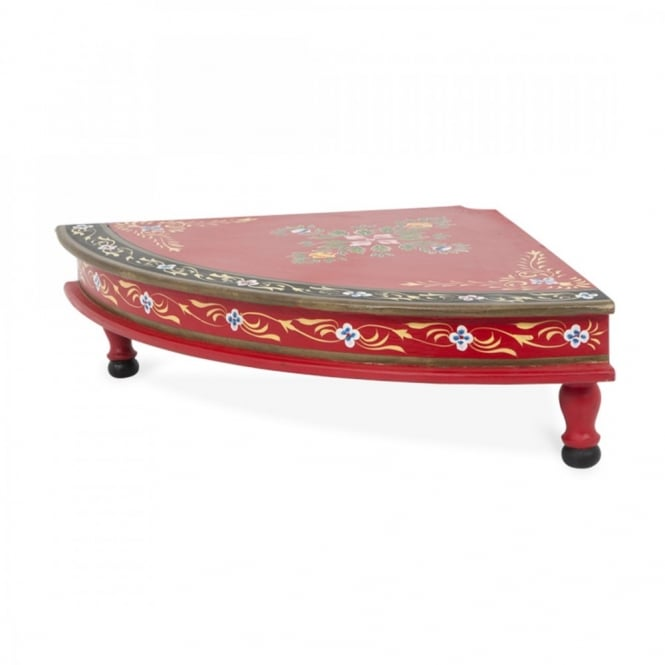 Wooden Quarter Round Bajot Table Painted Red Black