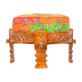 Boutique Camping  Wooden Stool With Multicoloured Cushion