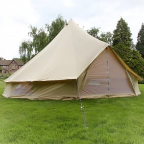 XL 7m Sandstone Bell Tent With Zipped in Ground Sheet - Single Door