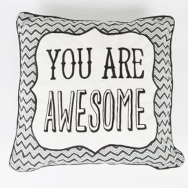 'You Are Awesome' Chevron Retro Cushion